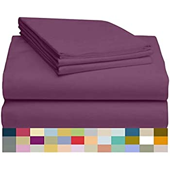 LuxClub 4 PC Microfiber and Bamboo Sheet Set: Bamboo Bedding Sheets with Microfiber - Softer and More Breathable Than Cotton - Antibacterial and Hypoallergenic - Machine Washable, Eggplant, King