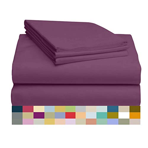LuxClub 4 PC Sheet Set Bamboo Sheets Deep Pockets Eco Friendly Wrinkle Free Sheets Hypoallergenic Anti-Bacteria Machine Washable Hotel Bedding Silky Soft - Eggplant California King