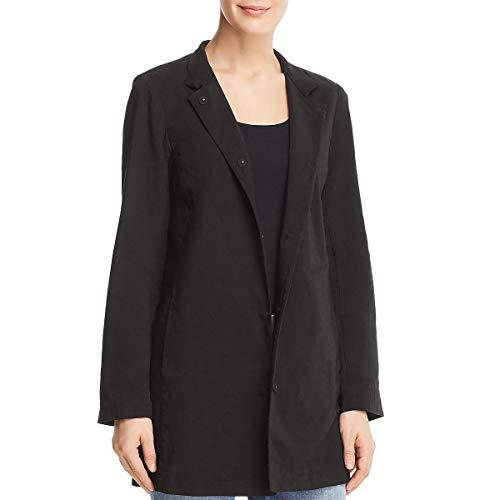 Eileen Fisher Womens Notch Long Jacket Black L