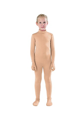 Full Bodysuit Kids Dancewear Solid Color Lycra Spandex Zentai Child Unitard (L, Nude)