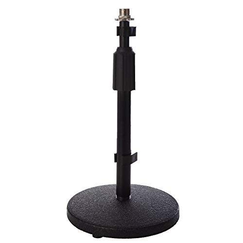LyxPro Desktop Microphone Stand, 9- 14 Adjustable Height Desk Mic Holder, Weighted Cast Iron Base, 3/8 - 5/8 adapter screw, Table Top Non slip Rubber Feet