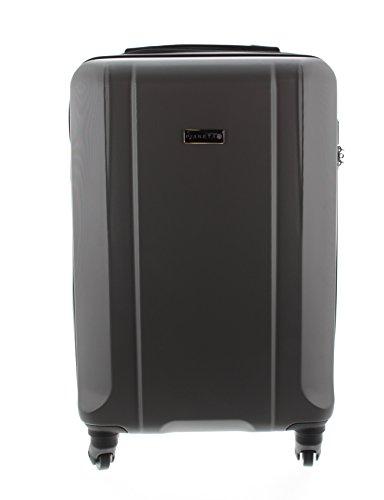 Pianeta / Boston Trolley valigia da viaggio bagaglio a mano valigia guscio rigido 100% ABS (L (65cm), grigio)