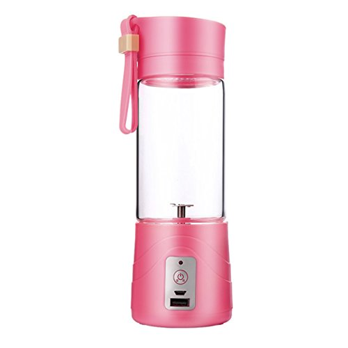 Juice Extractor, EgoEra Portable, Rechargeable Battery and USB Charging 380ml Juicer Cup With 2000mAh Power Bank, Pink