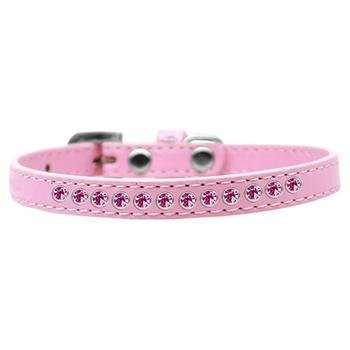 Mirage Pet Products Bright Pink Crystal Light Pink Puppy Dog Collar, Size 16 by Mirage Pet Products