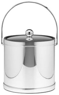 Kraftware Mylar Polished Chrome 3-Quart Ice Bucket with Bale Handle, Bands and Metal Cover (Ice Qt 3 Bucket Mylar)