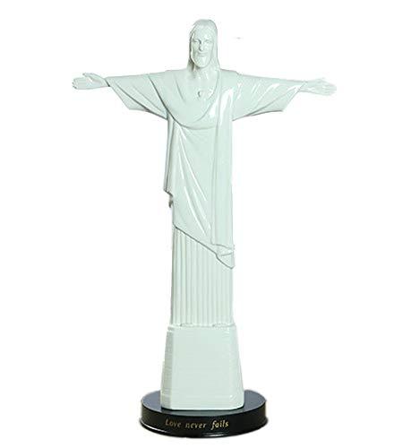 SDBRKYH Christ Jesus Statue, Ceramic Catholic God Sculpture Relics Cross Desktop Religious Decoration