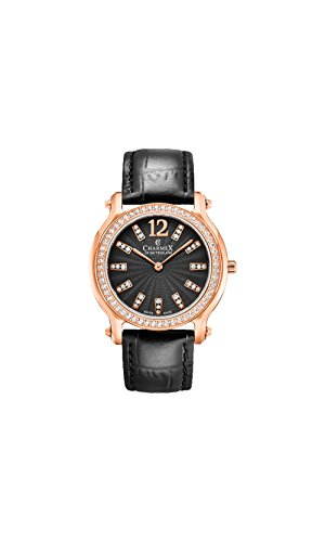 Charmex Women's EZE 31.5mm Black Leather Band Steel Case Sapphire Crystal Quartz Analog Watch 6342