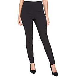 Roman Originals Women Stretch Pull On Trousers – Ladies Bengaline Fitted Tailored Tapered Elasticated Work Office Smart Thick Legging