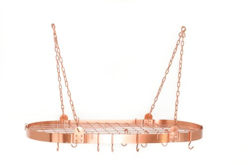 Satin Steel Hanging Pot Rack (Old Dutch Oval Pot Rack with Grid & 12 Hooks, Satin Copper)