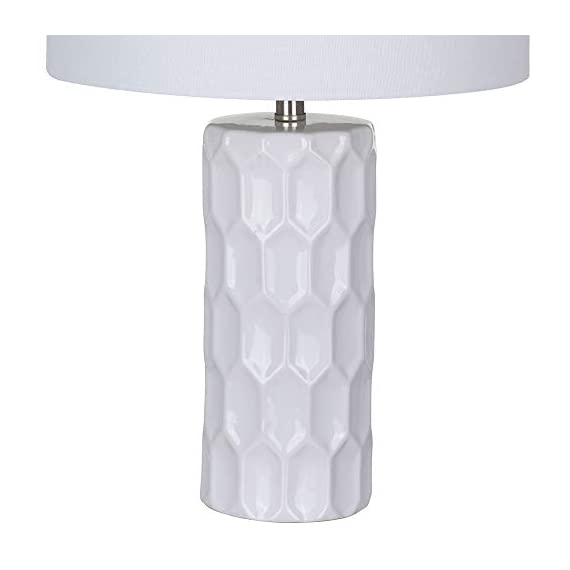 Amazon Brand – Ravenna Home Mid Century Modern White Ceramic Table Lamp With LED Light Bulb - 21 Inches, White Shade - Narrow base with wide squared shade is an eye-catching accent to mid-century and modern décor Textured ceramic base; white linen shade, brushed nickel hardware LED bulb included - lamps, bedroom-decor, bedroom - 31 %2BgbfPnOL. SS570  -