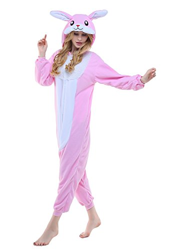 [Adult Cosplay Costume Pajamas Animal Jumpsuit Outfit Anime Makeup Partywear-Pink Rabbit,M] (Animal Suits For Adults)
