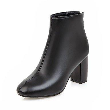 RTRY Zapatos De Mujer Polipiel Invierno Botas De Moda Botas Bota Chunky Talón Puntera Redonda Botines/Botines De Cremallera Para Vestimenta Casual Marrón Claro US5 / EU35 / UK3 / CN34