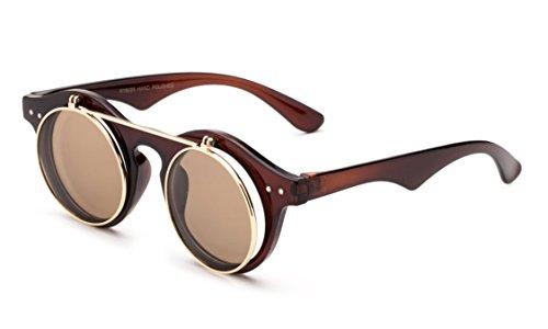 eac7c4d9c8b4 Classic Small Retro Steampunk Circle Flip Up Glasses / Sunglasses Cool  Retro 2017 Model. by kyra