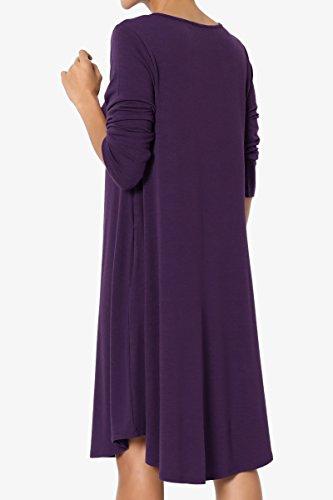 TheMogan Women's 3/4 Sleeve Trapeze Knit Pocket T-Shirt Dress Dark Purple 1XL by TheMogan (Image #4)