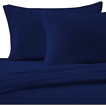 Brielle 100 Percent Cotton Jersey Knit Sheet Set, Queen, Navy