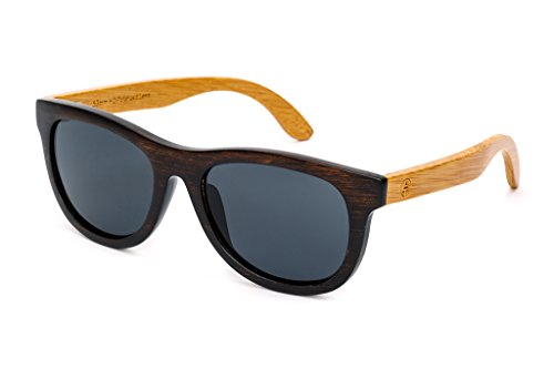 Classic Wayfarer Bamboo Sunglasses - Polarized Lens, Hard Case - Woodgrain Brown Frames, Natural Bamboo Arms, Black 53mm Lens - Tree - Woodgrain Sunglasses