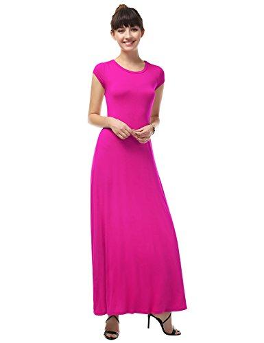 LA BASIC Women's Round Neck Rayon Jersey Maxi Dress FUCHSIA 1XL