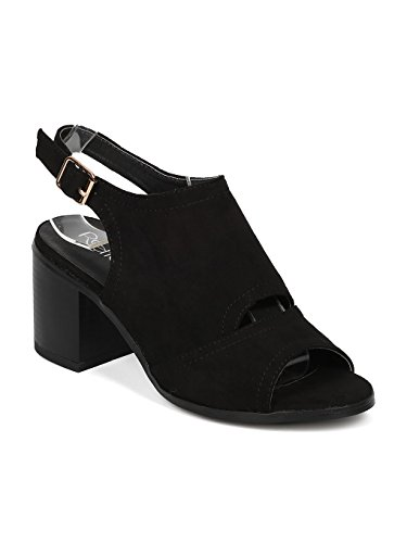 Alrisco Women Faux Suede Peep Toe Key Hole Slingback Block Heel Mule HA55 Black Faux Suede