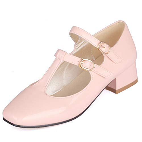 - Women's Causal Patent PU Leather Ankle Strap Mary Janes Block Mid Heel Pumps Shoes Dress Shoe Pink