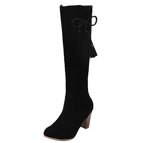Mee Shoes Damen chunky heels Quaste Reißverschluss Stiefel Schwarz