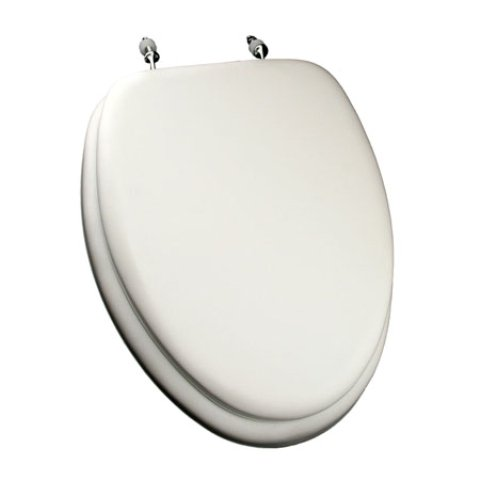 Comfort Seats C1B5E2-00CH Deluxe Soft Toilet Seat with Wood Cores and Chrome Hinges, Elongated, White