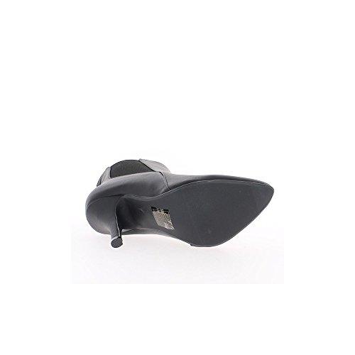 Bottines pointues noires talon de 10cm aspect cuir