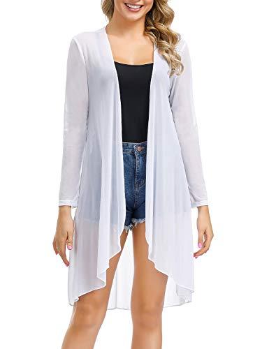 Porda Womens Beach Blouses Kimono Cardigan Long Bikini Cover Up (White,Small) (Shoulder Cardigan Dropped)