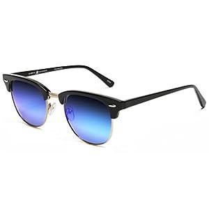 Samba Shades Polarized Club Master Vintage Sunglasses with Shiny Black Frame, Revo Blue Mirror Lens