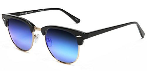 Samba Shades Polarized Club Master Vintage Sunglasses with Shiny Black Frame, Revo Blue Mirror - Master Shades Club