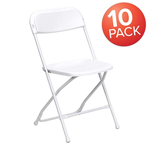 Flash Furniture 10 Pk. HERCULES Series 800 lb. Capacity Premium White Plastic Folding - Chairs Tables Folding