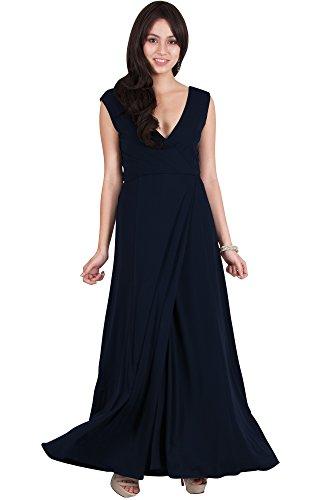 Blue Sleeveless Neck Formal Zamara Long Maxi Viris Semi Dress Sexy Womens Navy Wrap V XO0ZnRF
