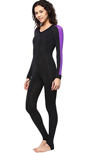 Phantom Aquatics Snorkeling Swim Lycra Skin Full Suit Wetsuit, Black/Twilight, Medium ()