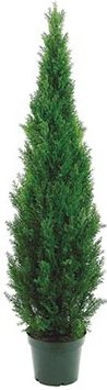 One 60 Inch Outdoor Artificial Cedar Topiary Tree Uv Rated Potted Plant by Silk Tree Warehouse