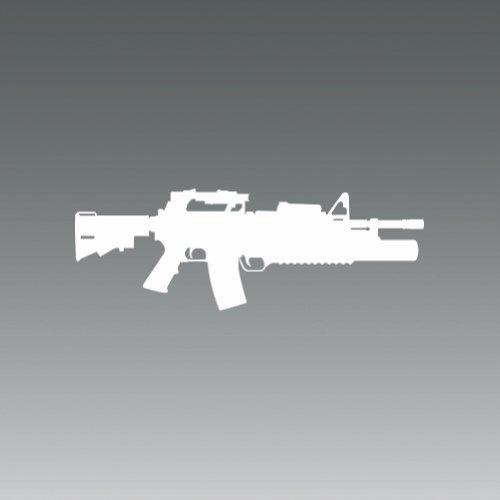 M4 w/ M203 Grenade Launcher - White - Sticker - Decal - Die Cut ()