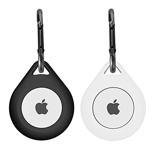 Silicone Cover for Apple AirTag Case with Carabiner,AirTag Key Finder Phone Finder Carry Cover Skin 2 PCS (Black,White)