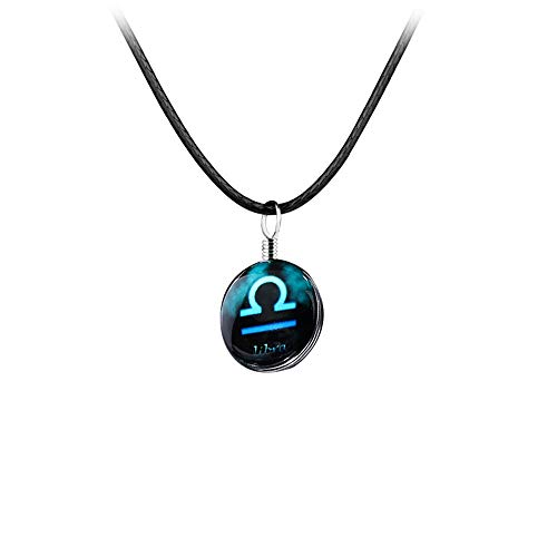 Twelve Constellation Time Gemstone Pendant Necklace Lucky Stone Long Leather Cord Sweater Chain for Women Men Couples Birthday Gift (Libra)