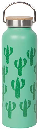 Now Designs Stainless Steel Water Bottle with Bamboo Lid, Cacti - 18 oz Capacity