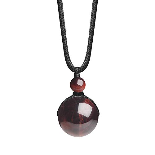 iSTONE Unisex Genuine Round Gemstone Red Tiger Eye Beads Pendant Necklace