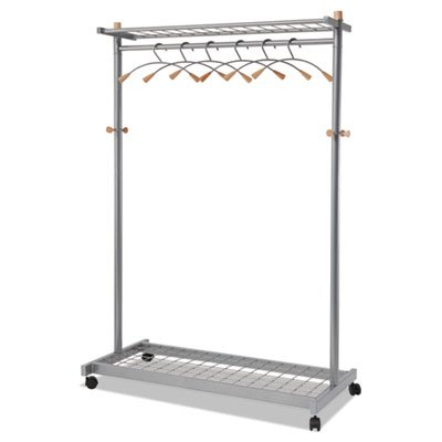 Garment Racks, Two-Sided, 2-Shelf Coat Rack, 6 Hanger/6 Hook, Silver Steel/Wood, Sold as 1 (Sided 2 Shelf Steel Garment)