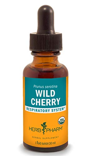 Herb Pharm Certified Organic Wild Cherry Bark Liquid Extract for Respiratory Support - 1 Ounce