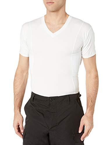 UnderTech Undercover Mens Concealment V-Neck Compression Shirt, White, Size: Large