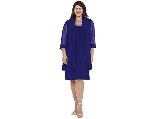 R&M Richards Black Plus Size Mother Of The Bride 2 Piece Dress (14W, Royal Blue)