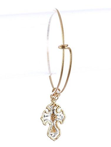 Parisian Chic Bracelet Layered Cross Charm Metal Bangle Chain Tassel Matte Finish Hammered Two Tone Adjustable Diameter Drop Silver
