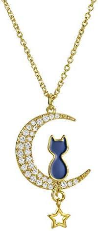 (ネオグロリー)Neoglory Jewelry 三日月 猫 誕生石 14金 ゴールド ネコ ムーンネックレス キャット 絆 猫