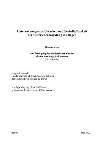 Price comparison product image Untersuchungen zu Ursachen und Beeinflußbarkeit der Listerienentwicklung in Silagen