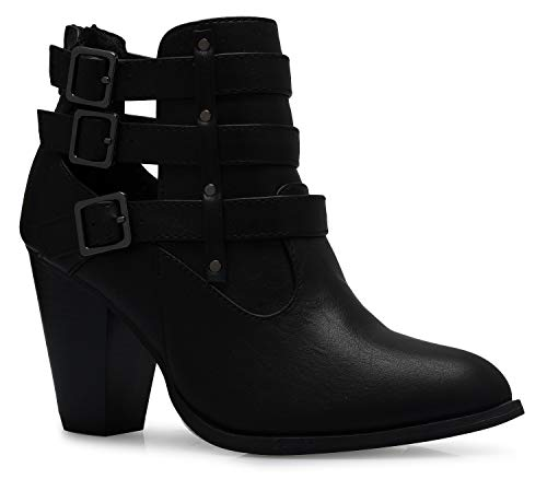 Black Sexy Buckle - OLIVIA K Women's Classic Stacked Wood Heel with Side Zipper Enclosure - Adjustable Ankle Straps with Buckle