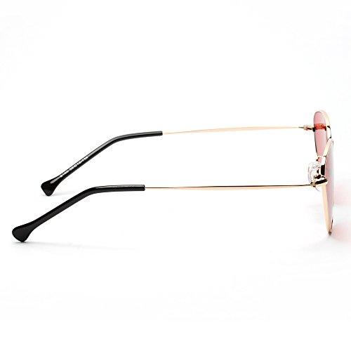 Clásico UV 400 Rojo Marco Ligero Única Sol Aviador Contever Polarizadas Espejo de Gafas de Protección Lente del Metal Mujer Talla SFwqSY70