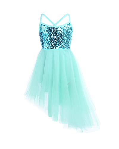 FEESHOW Girls Sequined Camisole Ballet Dress Leotard Chiffon Skirt Sparkly Fairy Dance wear Costumes Hi-lo Mint Green 7-8 ()