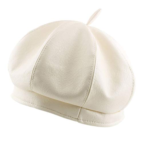 Palarn Newsboy Cap Bomber Cowboy Hats Berets Beret Women Autumn/Winter Leather Soft Pumpkin Solid Color Vintage Hats