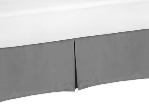 Sweet Jojo Designs Gray Toddler Bed Skirt for Modern Gray and Orange Stripe Collection Kids Boys Bedding Sets